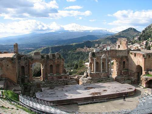 Taormina with Mount Etna in the Background